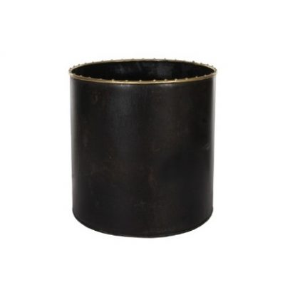 CACHE POT NEGRO BORDE ORO